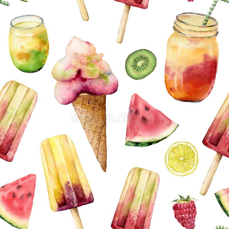 Sömlös modell för vattenfärg med glass och coctailen Handen målade illustrationvattenmelon, citronen, kiwi och royaltyfri illustrationer