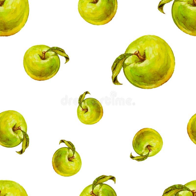 Sömlös modell för vattenfärg med gröna äpplen stock illustrationer