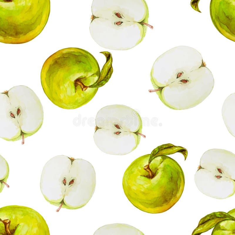 Sömlös modell för vattenfärg med gröna äpplen vektor illustrationer