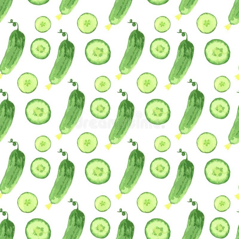 Sömlös modell för vattenfärg med gröna gurkor Dragen sund matillustration för vektor hand stock illustrationer