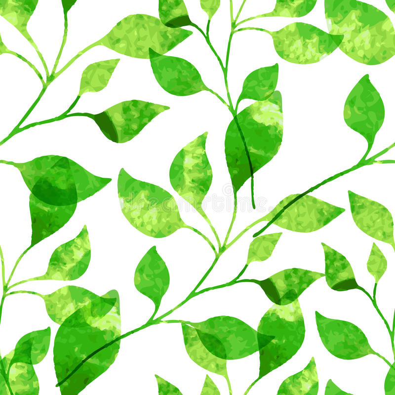 Sömlös modell för vattenfärg med gröna sidor Vektorillustrati vektor illustrationer