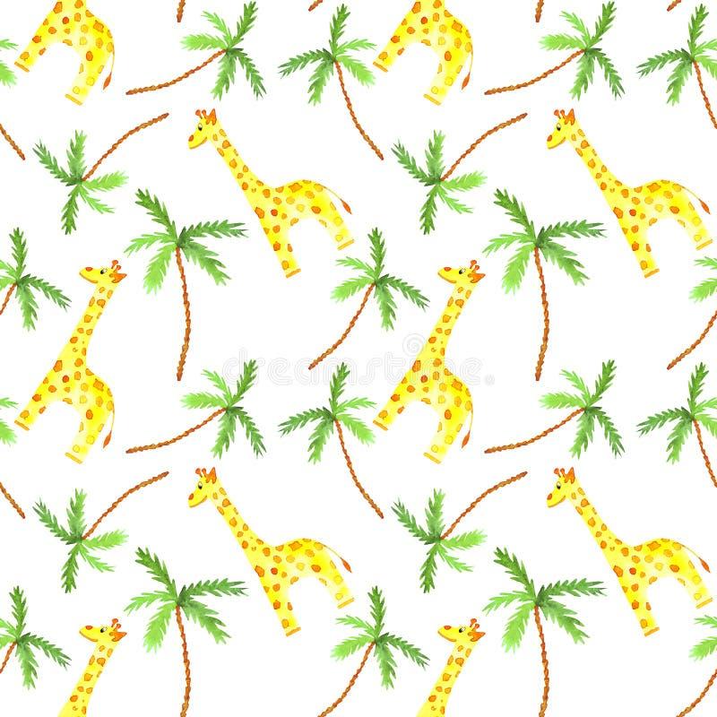 Sömlös modell för vattenfärg med gulliga afrikanska djur för giraff och för palmträd stock illustrationer