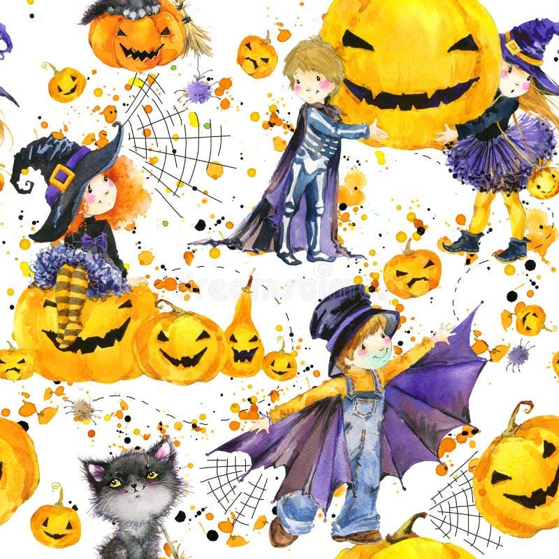 sömlös modell för vattenfärg med gulliga ungar i färgrika halloween dräkter royaltyfri illustrationer