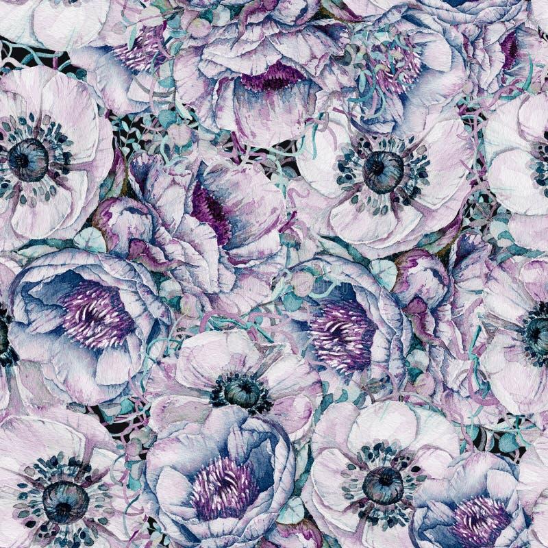 Sömlös modell för vattenfärg med härliga blommor stock illustrationer
