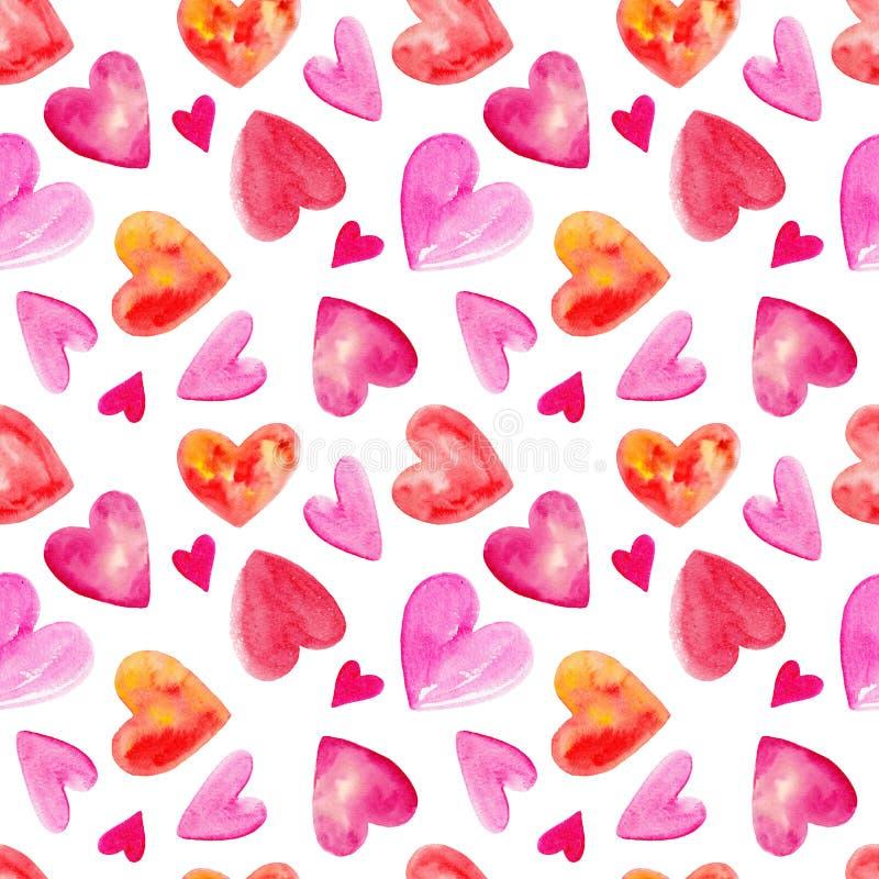 Sömlös modell för vattenfärg med hjärtor för valentindag royaltyfri illustrationer