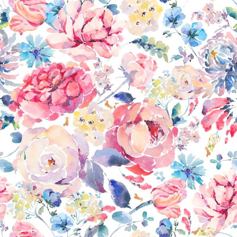 Sömlös modell för vattenfärg med hrysanthemums, rosor stock illustrationer