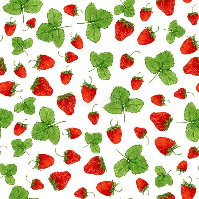 Sömlös modell för vattenfärg med jordgubbar och sidor på den vita bakgrunden Hand dragen illustration för ecoprodukt D stock illustrationer