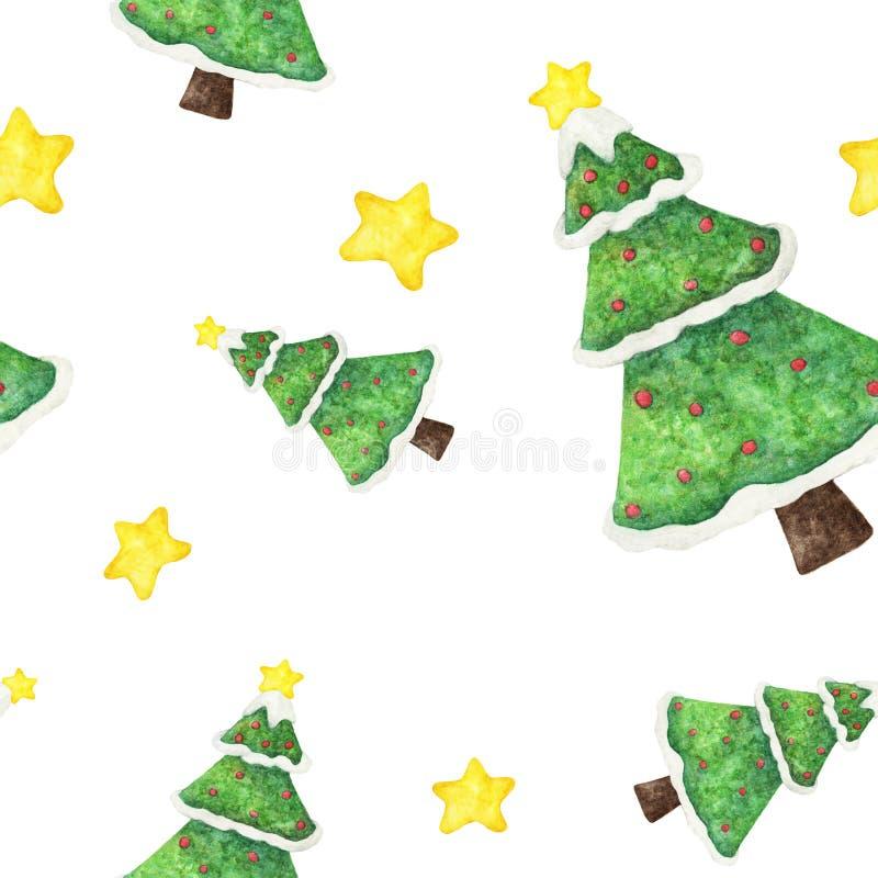 Sömlös modell för vattenfärg med julgranen, snö och stjärnor royaltyfri illustrationer