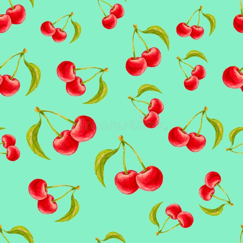 Sömlös modell för vattenfärg med körsbär på turkosbakgrund royaltyfri illustrationer