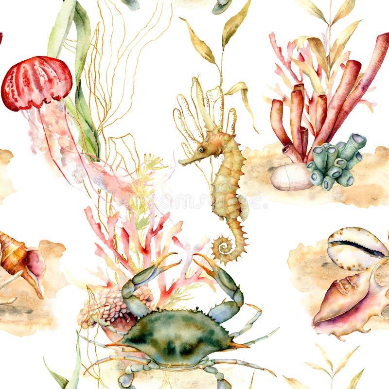 Sömlös modell för vattenfärg med korallväxter, djur Handen målade den krabba-, manet-, seahorse- och skalillustrationen stock illustrationer