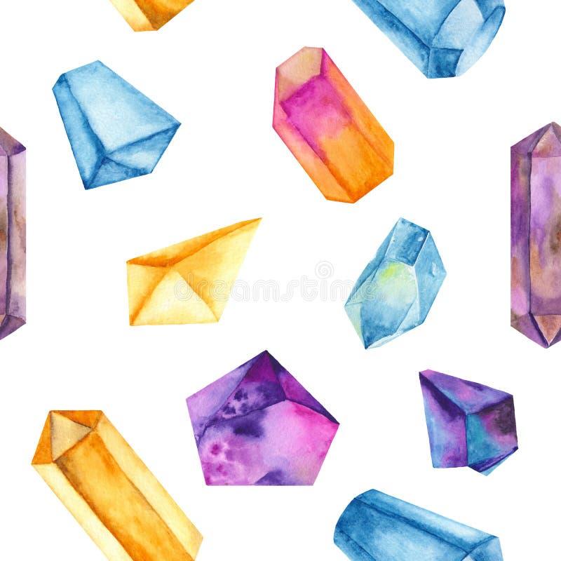 Sömlös modell för vattenfärg med kulöra kristaller royaltyfri illustrationer