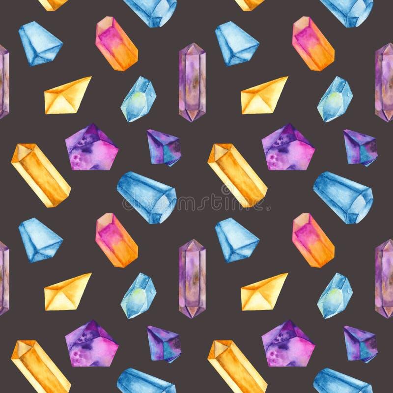 Sömlös modell för vattenfärg med kulöra kristaller vektor illustrationer