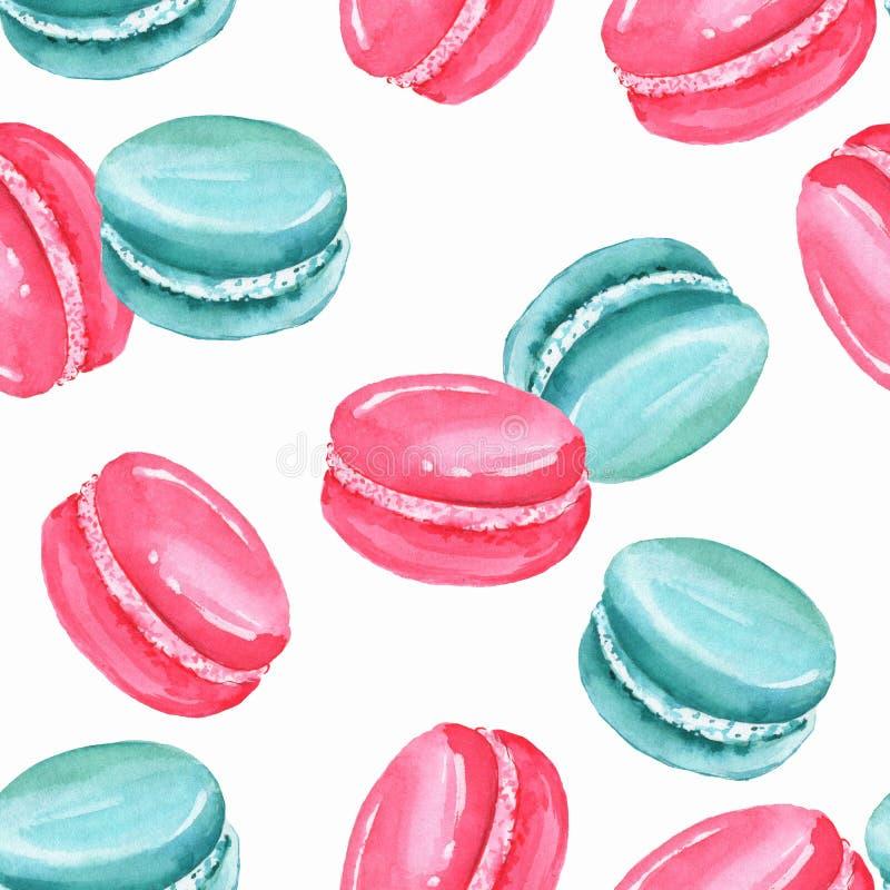 Sömlös modell för vattenfärg med makron 1 royaltyfri illustrationer
