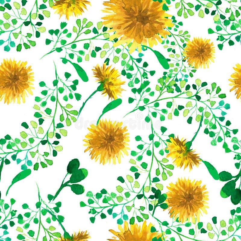Sömlös modell för vattenfärg med maskrosen vektor för detaljerad teckning för bakgrund blom- stock illustrationer
