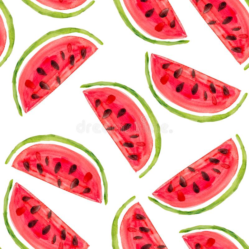 Sömlös modell för vattenfärg med nya vattenmelonskivor på vit stock illustrationer