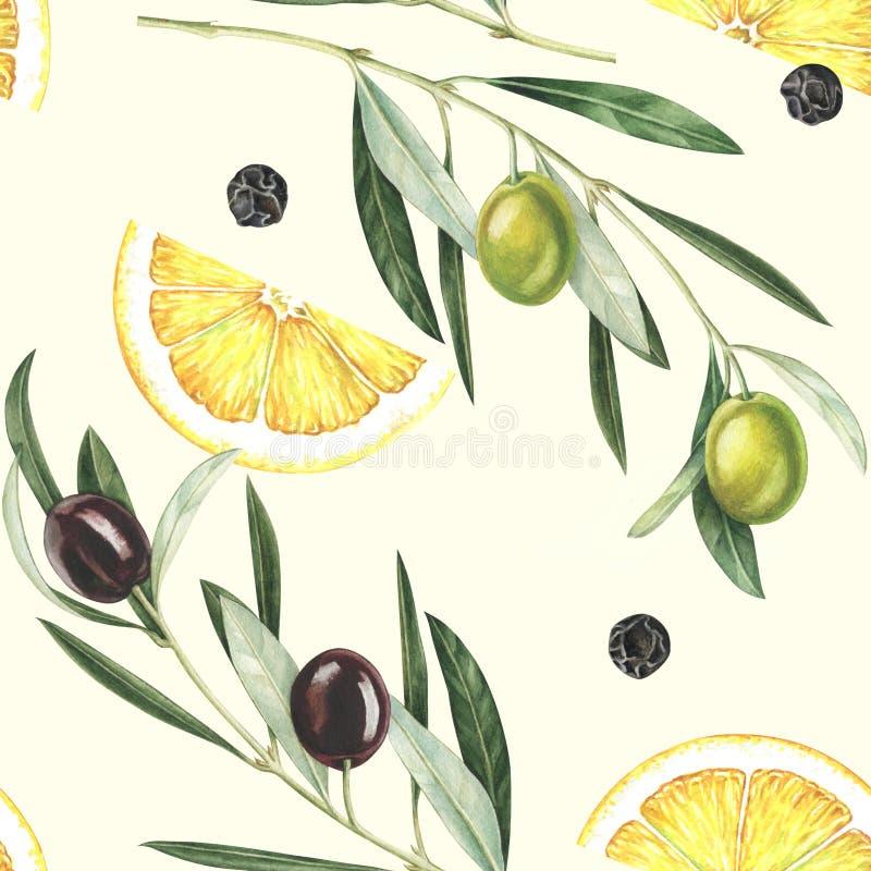 Sömlös modell för vattenfärg med oliv, citronskivor och svartpeppar royaltyfri illustrationer