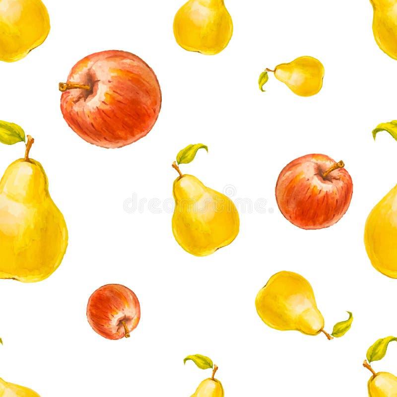 Sömlös modell för vattenfärg med päron och röda äpplen royaltyfri illustrationer