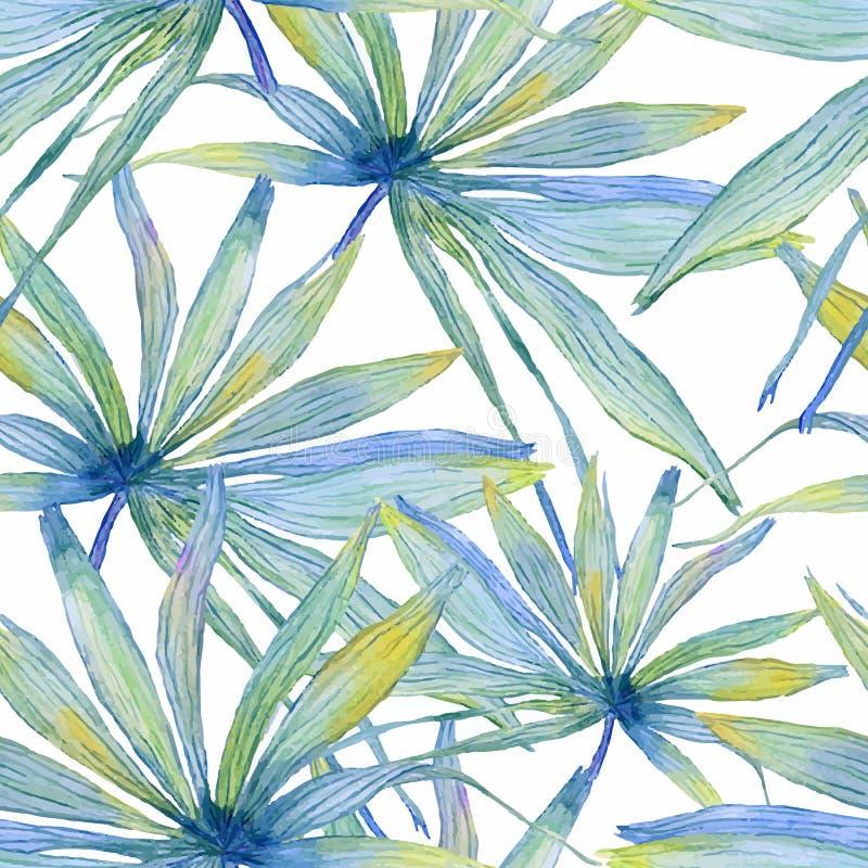 Sömlös modell för vattenfärg med palmblad royaltyfri illustrationer