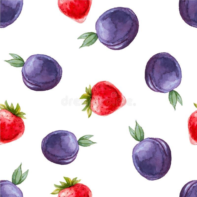 Sömlös modell för vattenfärg med plommoner och jordgubbar stock illustrationer