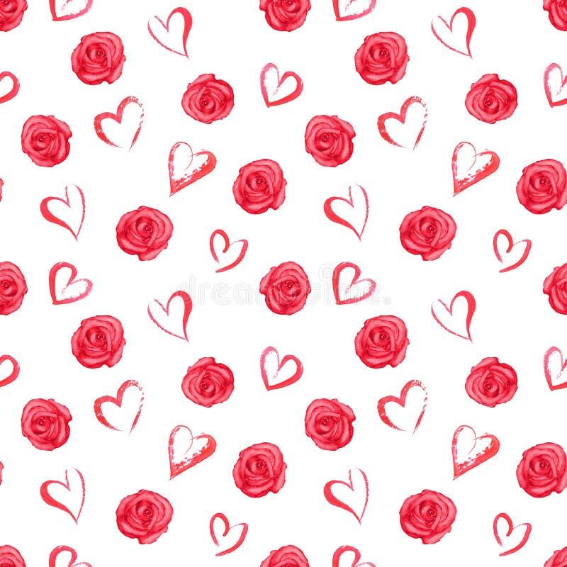 Sömlös modell för vattenfärg med röda rosor och hjärtor stock illustrationer