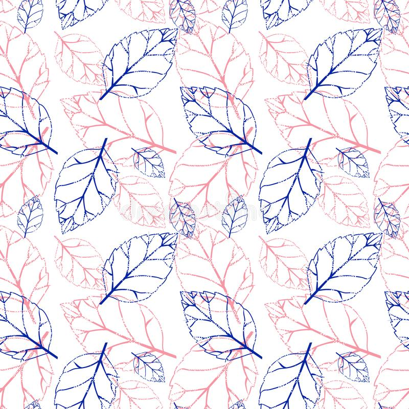 Sömlös modell för vattenfärg med rosa och orange höstsidor mot bakgrund field blåa oklarheter för grön vitt wispy natursky för gr vektor illustrationer