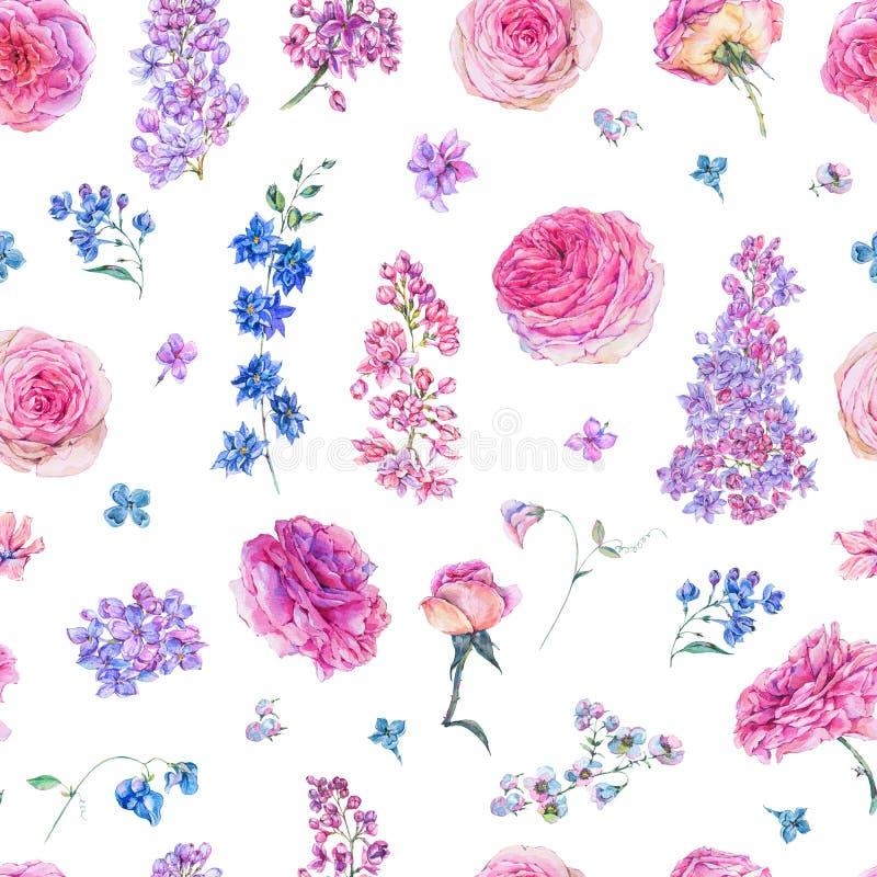 Sömlös modell för vattenfärg med rosa rosor, lilor stock illustrationer