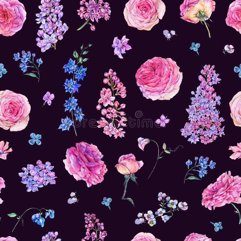 Sömlös modell för vattenfärg med rosa rosor, lilor royaltyfri illustrationer