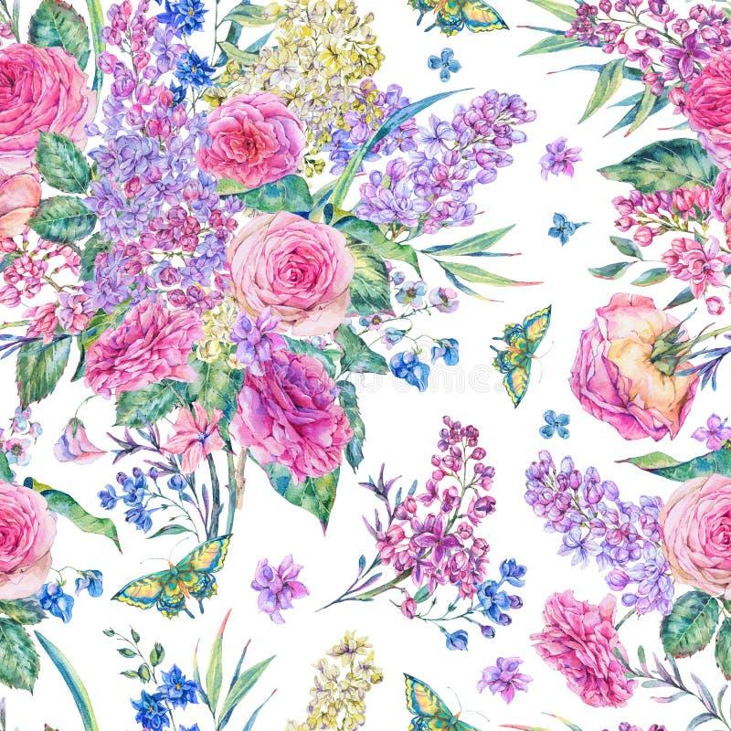 Sömlös modell för vattenfärg med rosor, lilor stock illustrationer