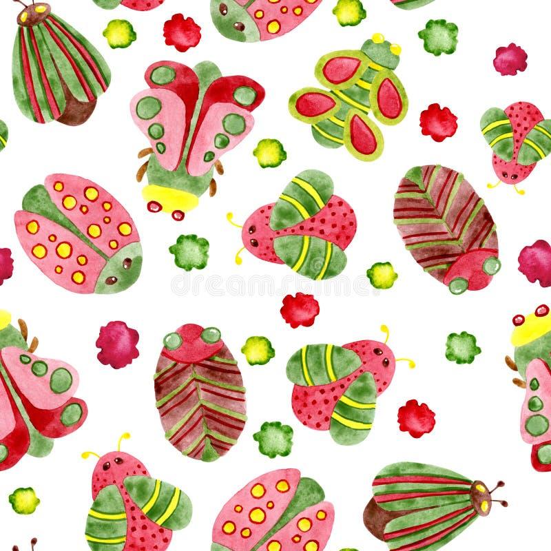 Sömlös modell för vattenfärg med skalbaggar och växter För design av bakgrund modell, tapet, omslag, tryck, tyg, kläder royaltyfri illustrationer