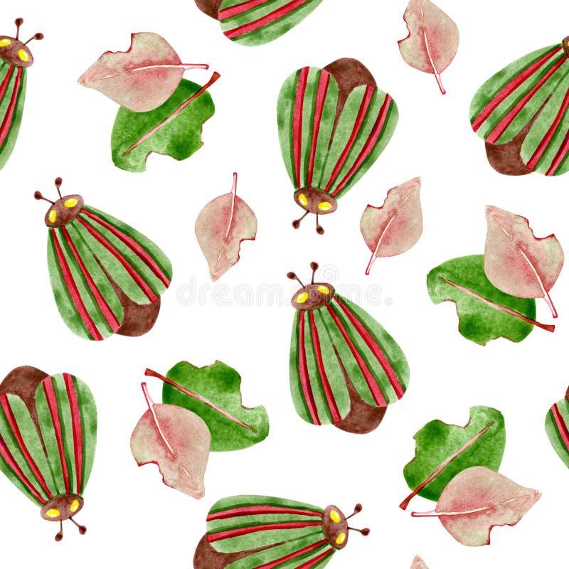 Sömlös modell för vattenfärg med skalbaggar och växter För design av bakgrund modell, tapet, omslag, tryck, tyg, kläder stock illustrationer