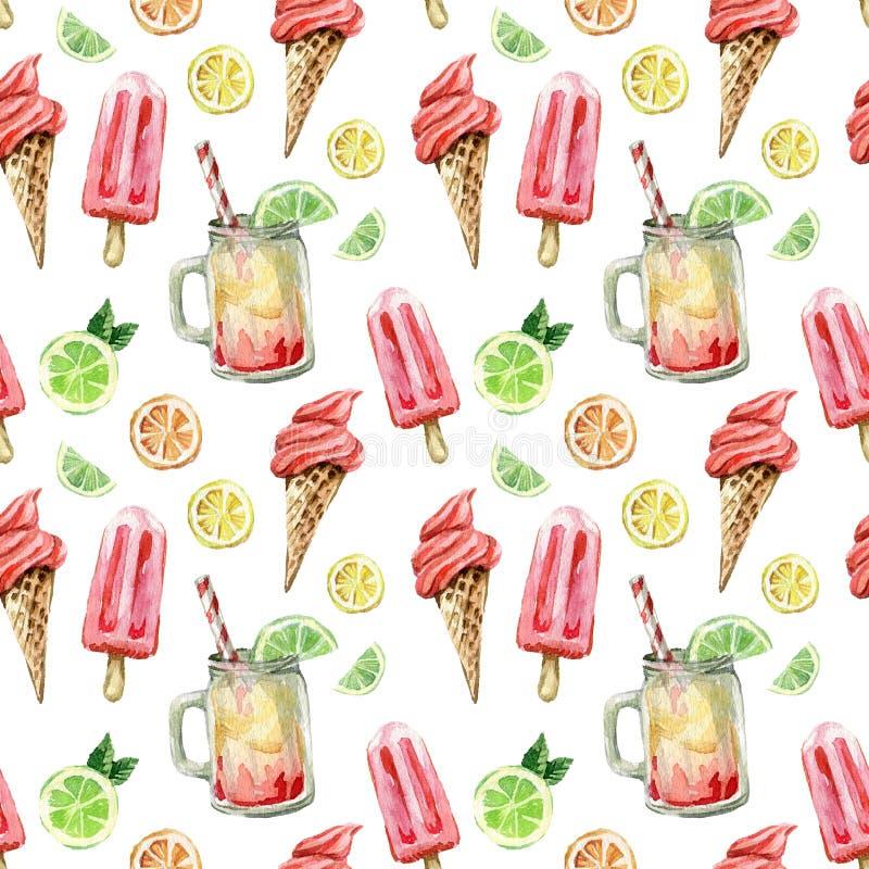 Sömlös modell för vattenfärg med sommarsötsaker: glass, kall drink och citrusfrukter stock illustrationer