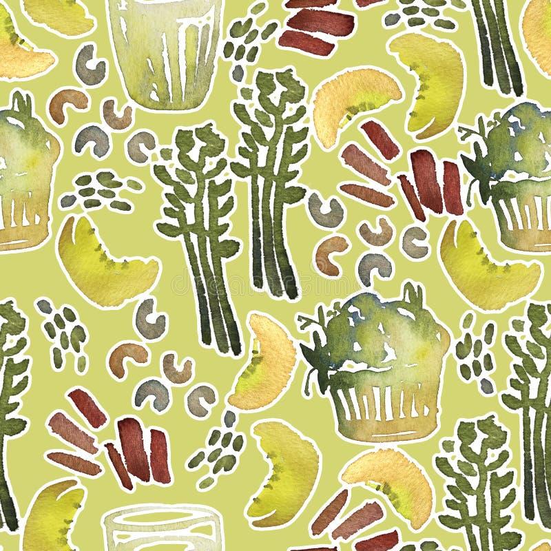 Sömlös modell för vattenfärg med sund mat stock illustrationer