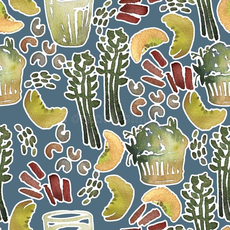 Sömlös modell för vattenfärg med sund mat royaltyfri illustrationer