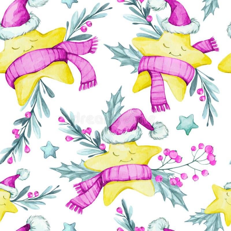 Sömlös modell för vattenfärg med tecknad filmstjärnor i varma torkdukar, sidor och bär nytt år glad jul royaltyfri illustrationer