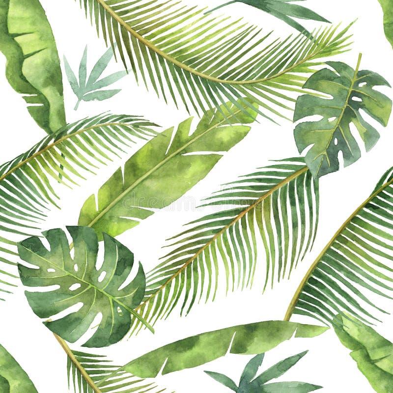 Sömlös modell för vattenfärg med tropiska sidor och filialer som isoleras på vit bakgrund vektor illustrationer
