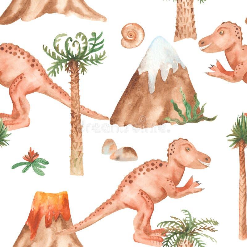 Sömlös modell för vattenfärg med tyrannosauren, palmträd, berg royaltyfri illustrationer