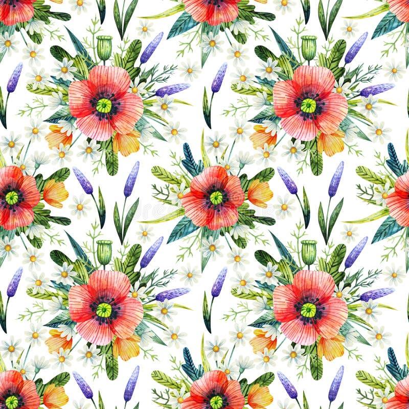 Sömlös modell för vattenfärg med vallmo vektor för detaljerad teckning för bakgrund blom- Hand drog sommarblommor royaltyfri fotografi