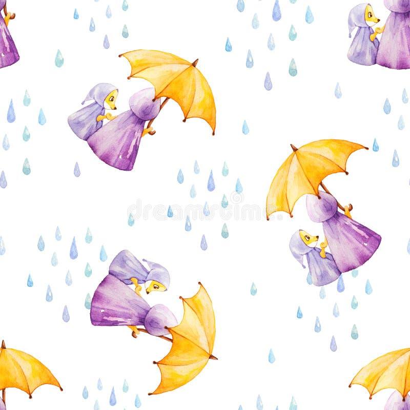 Sömlös modell för vattenfärg Rävar i regnigt väder under hm stock illustrationer