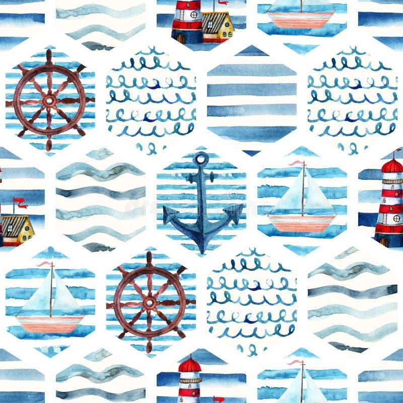 Sömlös modell för vattenfärgaffärsföretag i marin- stil för patchwork vektor illustrationer