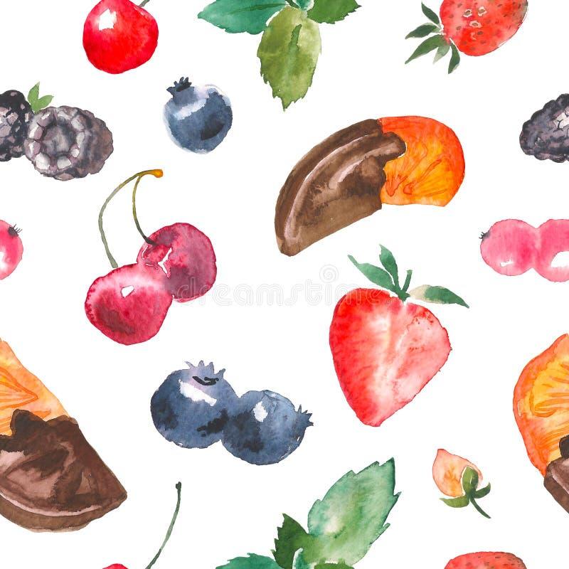 Sömlös modell för vattenfärgefterrättbär Upprepa hand dragen textur med hallonet, körsbär, jordgubbe, björnbär royaltyfri illustrationer