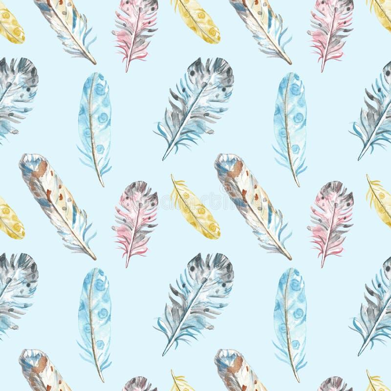 Sömlös modell för vattenfärgfågelfjädrar i pastellfärgade färger på blå bakgrund stock illustrationer