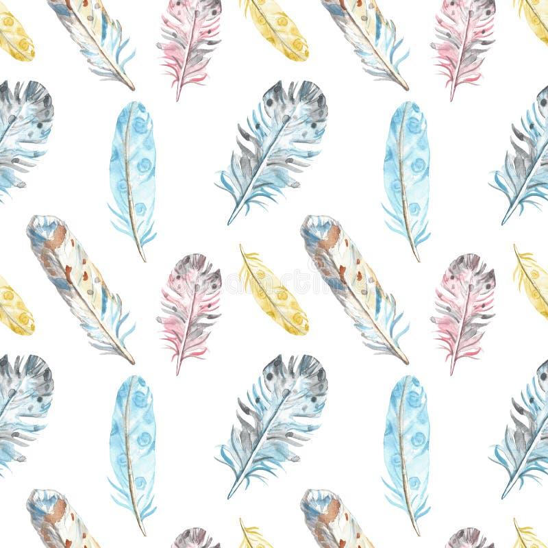 Sömlös modell för vattenfärgfågelfjädrar i pastellfärgade färger på vit bakgrund Utdragen etnisk stam- illustration för hand royaltyfri illustrationer