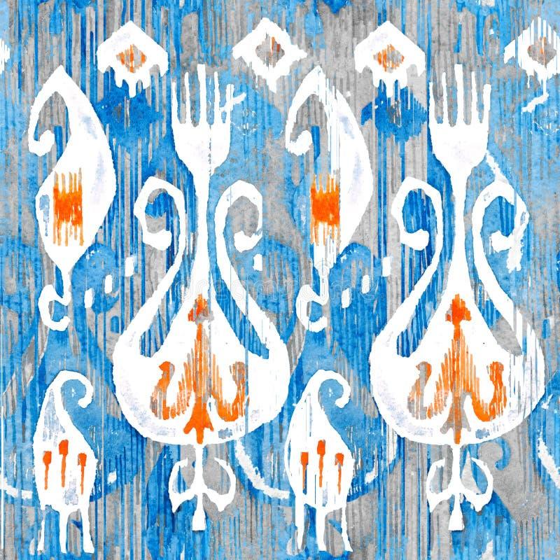 Sömlös modell för vattenfärgikat Dekorativt blom- i akvarellstil Bohemisk person som tillhör en etnisk minoritet stock illustrationer