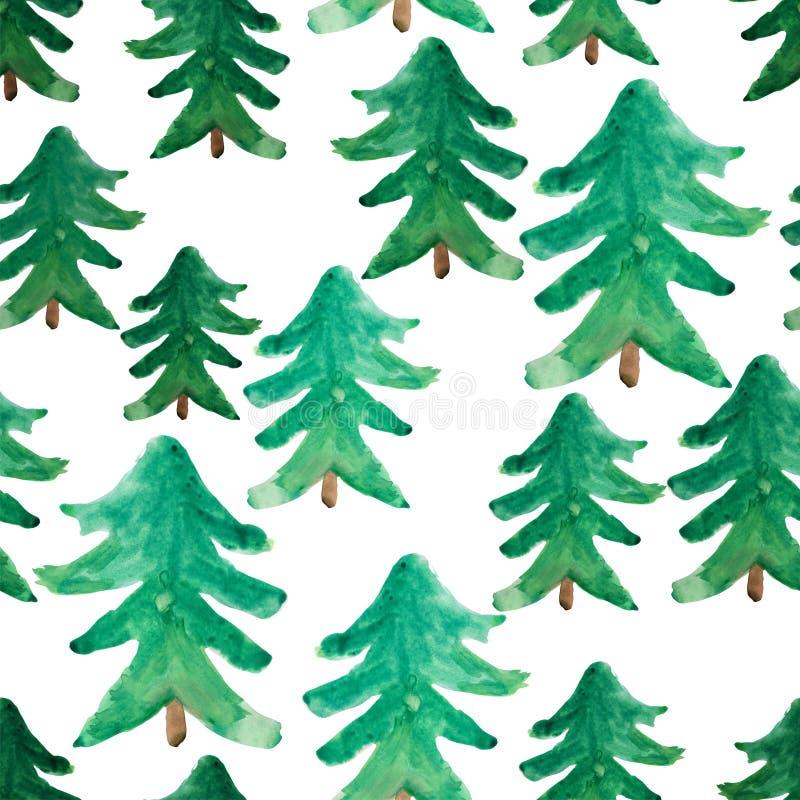 Sömlös modell för vattenfärgjulgranar Den snöig bildplatsen i mist med snö driver, träd, floden, fåglar, frost, skogen, gran-träd royaltyfri illustrationer