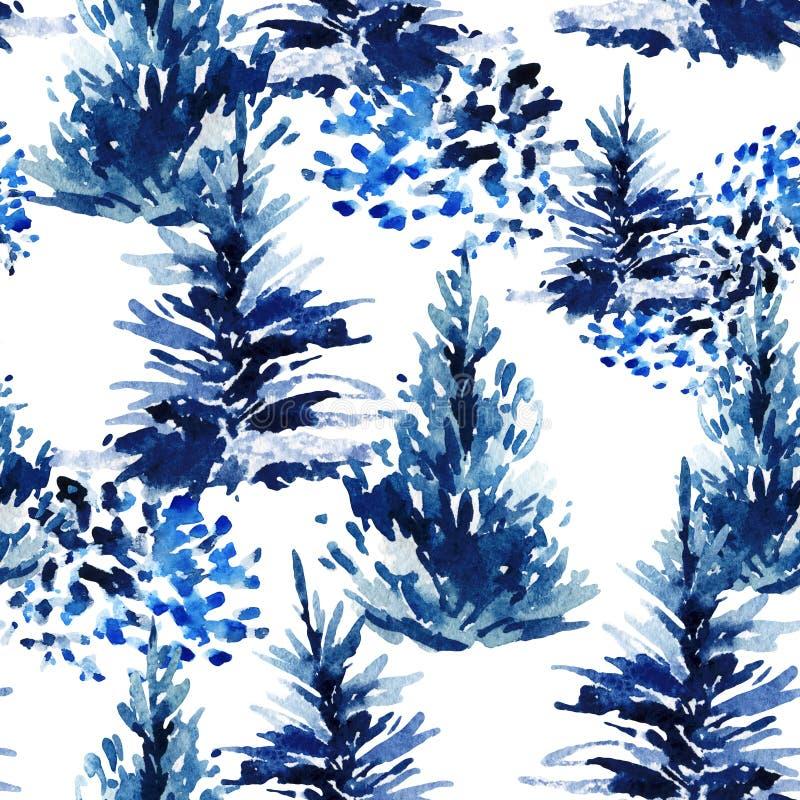 Sömlös modell för vattenfärgjulträd royaltyfri illustrationer