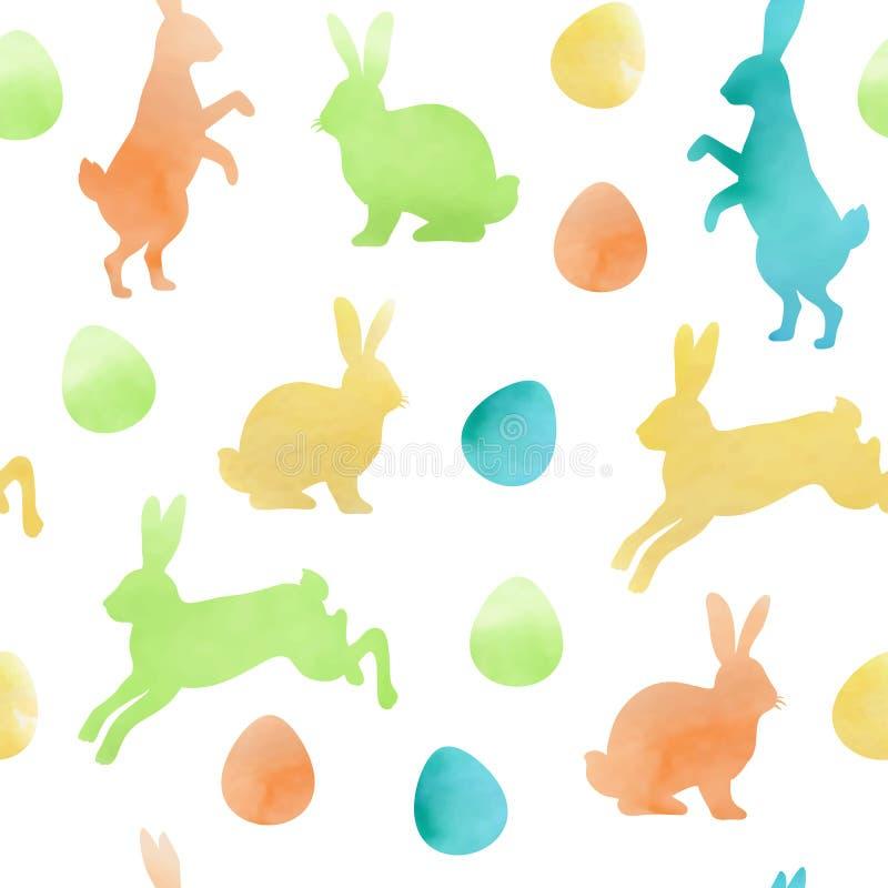 Sömlös modell för vattenfärgpåsk med kaniner vektor illustrationer