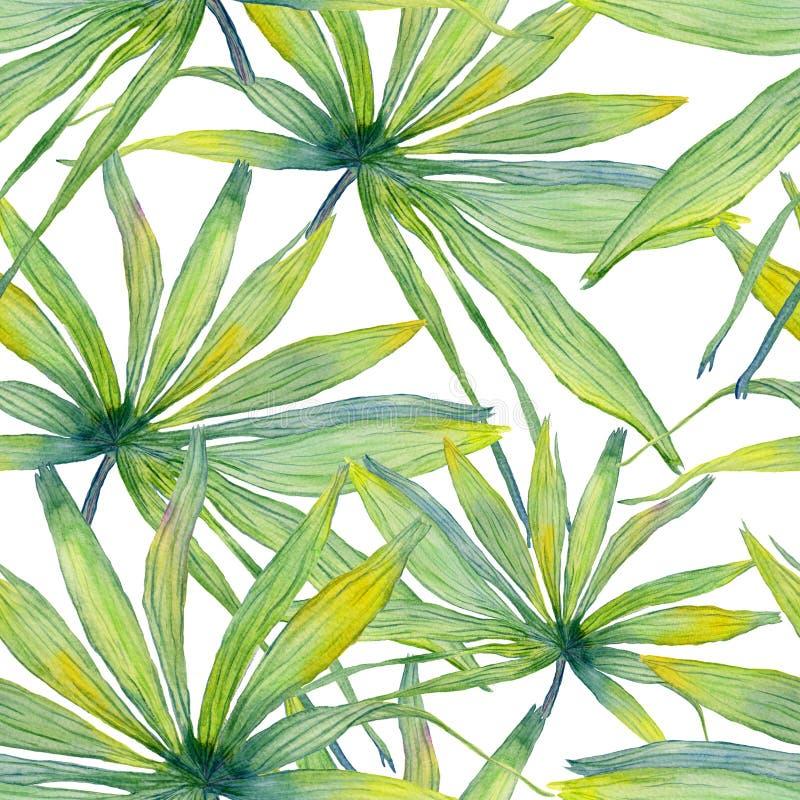 Sömlös modell för vattenfärgpalmblad stock illustrationer
