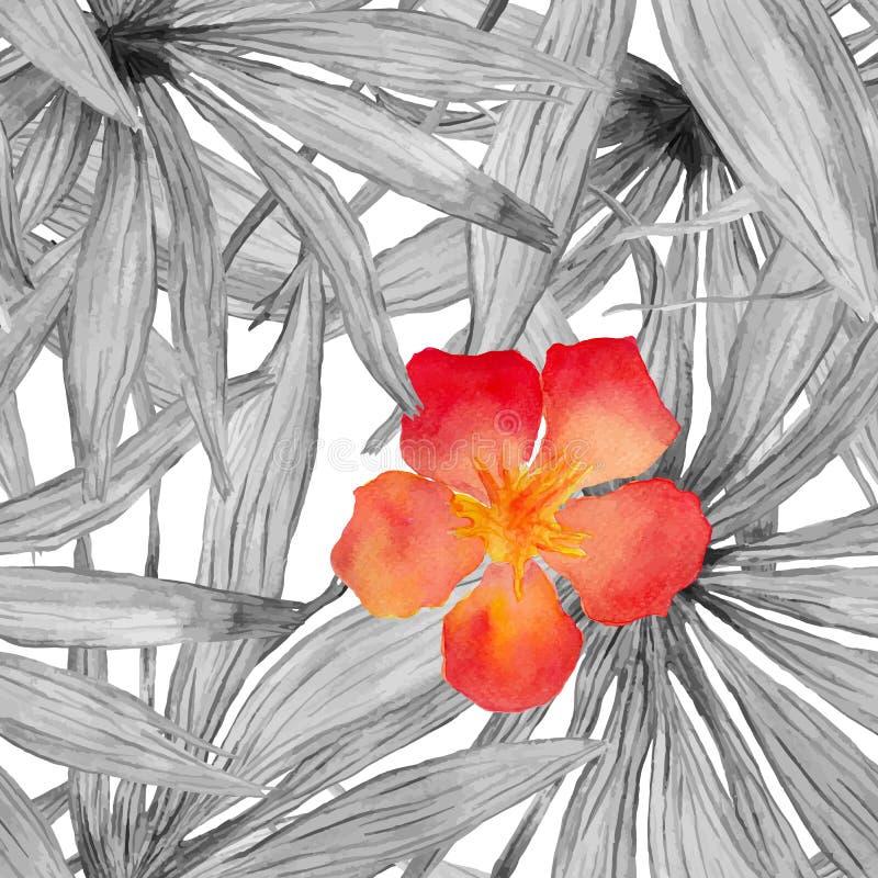Sömlös modell för vattenfärgpalmblad med hibiskusblomman stock illustrationer