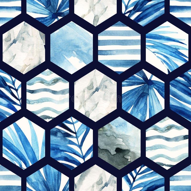 Sömlös modell för vattenfärgsexhörning royaltyfri illustrationer