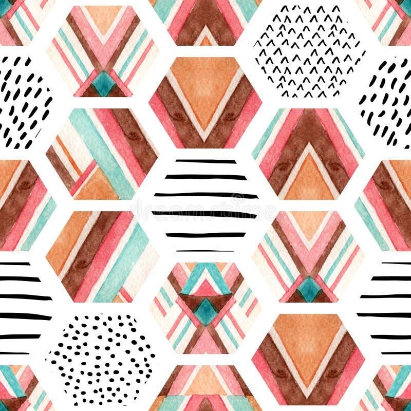 Sömlös modell för vattenfärgsexhörning med geometriska dekorativa beståndsdelar stock illustrationer